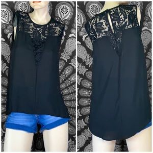 Black high low tank
